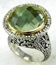 Philip Andre 18k Gold & Sterling Silver Genuine Prasiolite Statement Ring sz 7.5