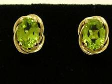 E063 Genuine 9ct Yellow Gold NATURAL Oval Peridot Stud Earrings large 7x5mm each