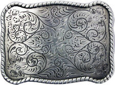 Floral Western Style Metal Belt Buckle Silver Cowboy Cowgirl Rancher