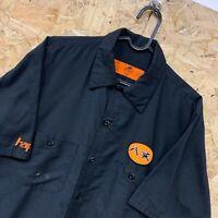 Vintage RED KAP Workwear Work Short Sleeve Shirt Black USA Medium M