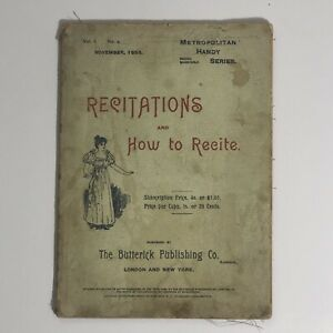 1895 Recitations And How To Recite Metropolitan Handy Series Butterick Rare Book