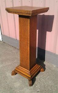 Antique Oak Masonic Lodge Pedestal Plant Stand 1913s