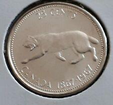 1867-1967 ~ CANADA Centennial ~ .800 SILVER 25 cents ~ BOBCAT Design ~ MS62