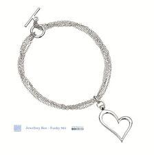 Elements Sterling Silver jewellery - Multi Strand Open Heart T-bar Bracelet
