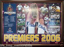 BRISBANE BRONCOS NRL PREMIERS 2006 LARGE POSTER FRAMED AND FULLY GLASSED LOCKYER