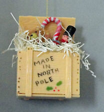 Gift Crate Made In North Pole Teddy Xmas Holiday Ornament Boxed Free USA Ship