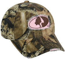 Ladies Mossy Oak Break Up Infinity Camo & Pink Deer Hunting Frayed Hat MOFS-11A