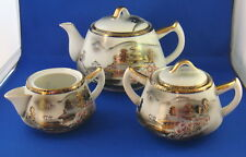 Japan KUTANI Lithopan Porcelain Matching TEAPOT,JUG & SUGAR BOWL
