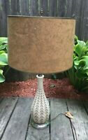 Mid Century Carved Plaster Chalkware Lamp Cream and Gold