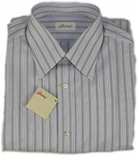 BRIONI MEN'S BLUE/BROWN STRIPED SHIRT-41/16-MADE IN ITALY