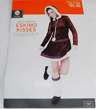 NEW WOMENS COSTUME ESKIMO KISSES DRESS WITH MITTENS & BOOT COVERS SIZE S
