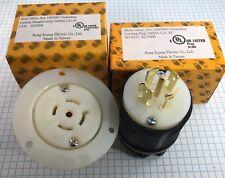 NEMA L21-20 male plug and Flanged Outlet, 4 Pole, 5 Wire, 20A 208V, UL listed.