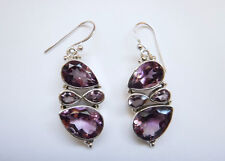 Sterling Silver Natural Amethyst Cluster Dangle Earrings