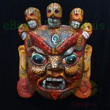 China Wood Hand Carved Painted Tibetan Buddhism NUO MASK Walldecor Art- Mahakala