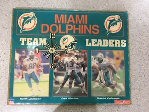 NFL TEAM PLAYERS  MIAMI DOLPHINS WALL CLOCK  DAN MARINO K. JACKSON  M. COLEMAN