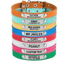 Leather Cat Collar Personalized Collars for Cats Small Dog Puppy Pink Turquoise
