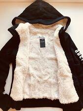 New Abercrombie Kids Girls Fur Botton Hoodie Jacket Valerie Navy Size L(13-14)