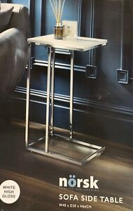 Norsk Side Table, With a white High Gloss Look and Metal Base - Living Room