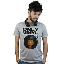 T-Shirt Dj Only Vinyl, maglietta grigia Disc Jockey Old School, disco in vinile