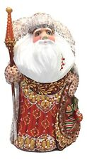 "9"" Tall Russian SANTA Father of Frost Wooden Hand Carved Hand Painted SIGNED"