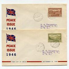 Canada 1946 Farm Lake Flag Peace Issue 2 Cachet Fdcs Usa