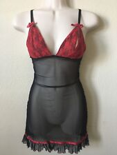 Fredrick's of Hollywood Black Red Mesh Lace Bowtie Open Cup Chemise, Size M
