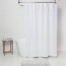 "THRESHOLD Macramé Fringe Shower Curtain 100% Cotton   72"" x 72""   Cream   🆕"