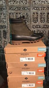 Mens Sperry Top-Sider Rubber Hash Waterproof Duck Boots Green/Black Size 8.5 M