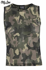 CAMO ARMY PRINT GREEN MESH STRING SHEER CROPPED VEST TOP SIZE 10 12 14 BNWT