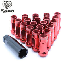 20PC 48mm Red Extended Steel Tuner Open End Wheel lug Nuts M12x1.5mm For Honda