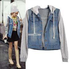Women's Winter Overcoat Hooded Jeans Coat Jacket Denim Trench Hoodie Parka A+++