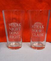 "Glassware: Set 4 Omaha Steak Clear Glass Steaklover's Pint 6"" Beverage Glasses"