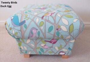 Tweety Birds Fabric Footstool Pouffe Footstall Nursery Duck Egg Blue Green Pink