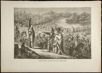 1860 - Indiens d'Amérique - Gravure - Emile de Wogan - Poteau de la guerre