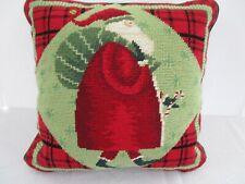 "Vintage Christmas Wool Needlepoint Pillow, 14"" Velvet Back w Zip Santa Claus Euc"