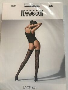 Wolford LACE ART Thigh Highs Stay-ups Color: Black Size: Extra Small 21584 - 30