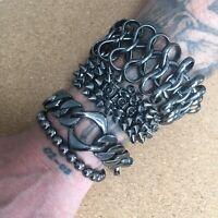 Men's Wristbands Bracelets Bundle Metal Spike Stack Punk Goth Rock Alternative