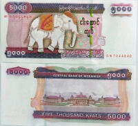 MYANMAR 5000 5,000 KYATS BURMA 2009 / 2014 P NEW WATERMARK + SECURITY UNC