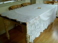 VINTAGE MARY CARD LARGE TABLECLOTH HAND CROCHETED LACE BRIAR ROSE AND PIGEON