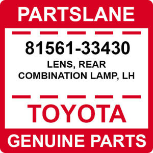 81561-33430 Toyota OEM Genuine LENS, REAR COMBINATION LAMP, LH