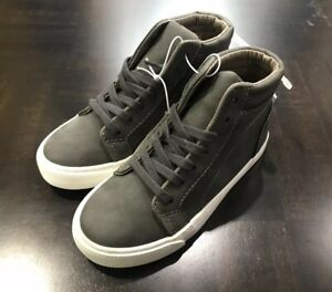 Old Navy Sueded High Tops Sneakers Boys Shoes Grey Kids Lace Ups NWT