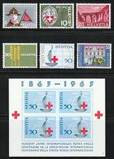 Switzerland 1963 MNH Mi 768-773+Block 19 Sc 422-428 Boy Scouts,Red Cross,Trains