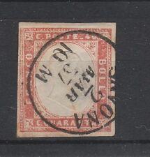 FRANCOBOLLI 1857 SARDEGNA 40 C. VERMIGLIO TENUE Z/314