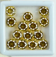 Loose Gemstone Lot 35 Ct/8mm Natural Yellow Sapphire Round 14 Pcs Certified