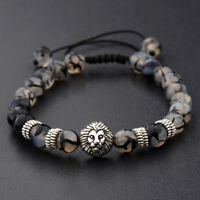 Men's Charm Natural Black Stone Silver Lion Beaded Adjustable Macrame Bracelet