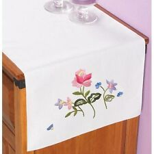 Pretty Pink Flowers  - Stamped for Embroidery - Table Runner/Dresser Scarf