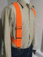 "Men's, Hunter Orange, XL, Adj., 2"", Side Clip Suspenders / Braces, Made in USA"