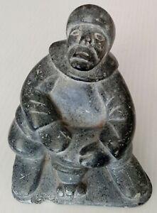 Vintage Signed Alicie Inuit Eskimo Fisherman Carved  Eskimo Art Figurine Canada