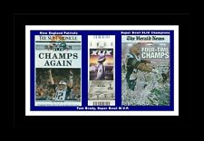 NEW ENGLAND PATRIOTS WIN SUPER BOWL 49 MATTED SINGLEPIC OF NEWSPAPER FRONT PAGES