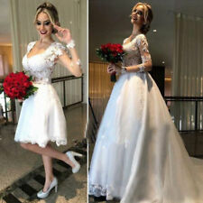 Wedding Beach Dresses Bridal Ball Gown Lace Long Sleeve Sweetheart Custom Boho